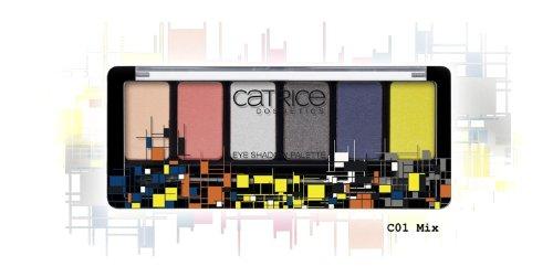 Limited Edition Eye Shadow Paletten (Catrice Cosmetics Limited Edition Geometrix Eye Shadow Palette Nr. C01 Mix Farben: Peach, Apricot Silber, Dunkelgrau, Dunkelblau, Gelb Inhalt: 6g Sechs trendige Farben für jeden Tag. Lidschatten Eyeshadow)