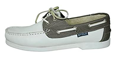 Beverly Originals Chaussures bateau Cuir Homme Men's Casual Colour, Taille:40, Couleur:blanc/gris