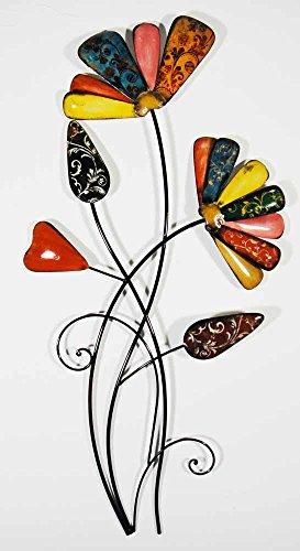 Wall Art - Scultura da parete - Wall Art Decore Contemporaneo in Metallo - Mazzo di fiori vintage colorato