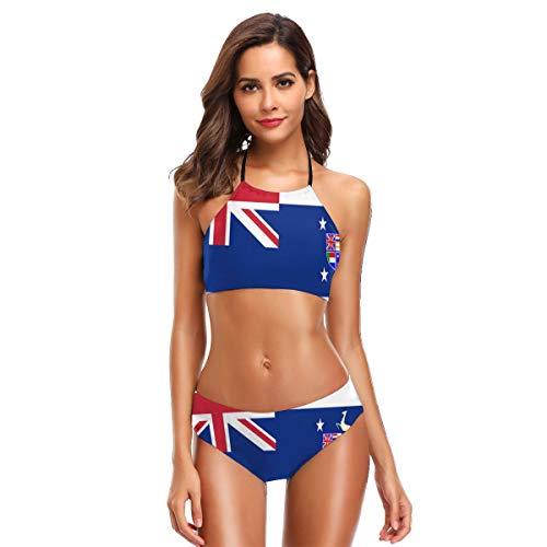 Union of South Africa Flag Frauen Blumendruck Ausschnitt Riemchen Halfter Badeanzüge Bikini Anzüge XXL - Frauen-union-anzug