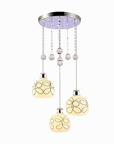 Modernes Anhänger Kunst Regenschirm Pendellampe LED 3 x E27 Crystal Glas Festplatte Hängeleuchte Kunst Einfaches Pendelleuchte Büro Wohnzimmer Küche Warmweiss Höhenverstellbar Ø15 x 15cm