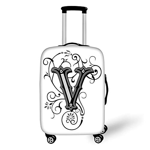 Travel Luggage Cover Suitcase Protector,Letter V,Gothic Halloween Style Uppercase V with Curved Lines Ivy Stripes Calligraphy Decorative,Black Grey White,for Travel,L (Blue Ivy Halloween)
