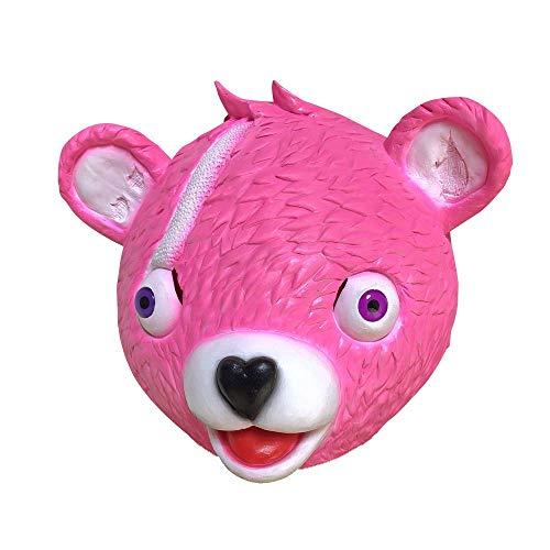Miminuo Novedad Juguete de la Novedad de Halloween Disfraz de Juego de Fiesta Látex Animal Máscara de la Cabeza Completa Acurrucamiento Líder de Equipo Bear Máscara de Juego (Pink)
