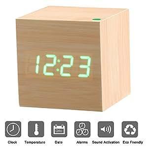 Sveglia digitale in legno con Display a LED PLUIESOLEIL Sveglia digitale con allarme, data, temperatura, ad attivazione vocale Alimentato tramite Cavo USB o 3 Batterie AAA (non incluse)