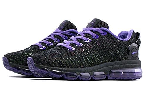 ONEMIX Air Scarpe Da Ginnastica Donna Basse Corsa Sportive Fitness Casual Sneakers Nero/Viola