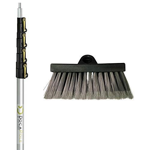 DocaPole Manche d'extension pour brosse à récurer poils doux de 2-7 m | Rallonge de brosse de lavage de voiture | Brosse pour revêtements extérieurs, fenêtres, terrasses, voitures, camions et plus