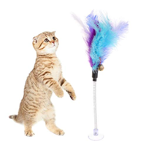 Girasool Katze Spielzeug Feder Stick Frühling Saugnapf Pet Teaser Lustige interaktive Wand Glocke -