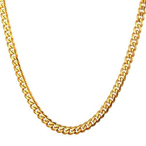 U7 3mm Herren Halskette 18k vergoldet Edelstahl Panzerkette Gliederkette für Männer Gold Ton Hiphop Biker Rocker Kette (Länge 66cm)