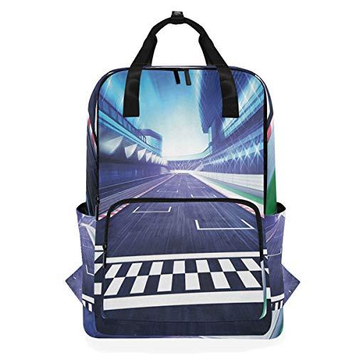 NR Lässiger Laptop Rucksack passt 15 Zoll Computer Notebook Rucksack große College-Schultaschen,Ziellinie-Rennbahn-Bewegungsunschärfe-Motorsport-Wettbewerbsstadio,Reisen/Business/Frauen/Jungen