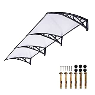 Door Canopy Awning 270*98.5cm Back Window Rain Snow Shelter Front Porch Outdoor Shade Patio Roof Cover UV Protection