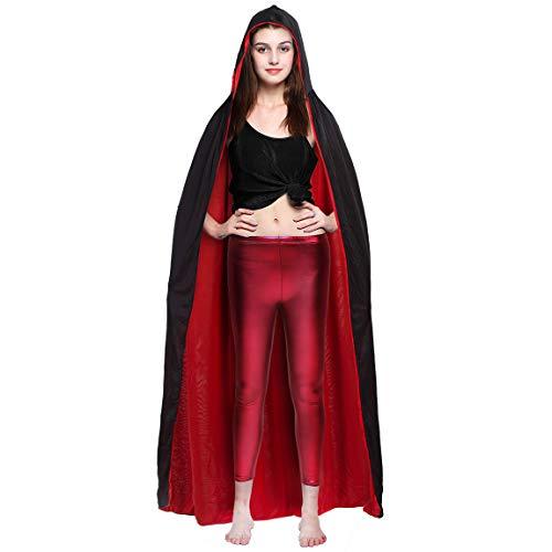PrettyQueen Halloween Länge Kapuzen Cape Jungen & Mädchen Superhelden-Umhang + 2Masken Schnürung Party Kostüme für Audlt Umhang Set doppelseitig Cosplay Kostüm, schwarz + rot 2Masken