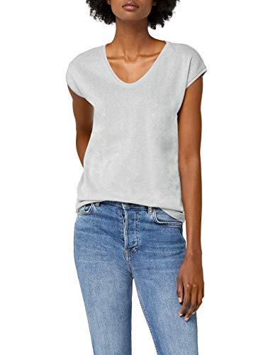 ONLY Damen onlSILVERY S/S V Neck Lurex TOP JRS NOOS T-Shirt, Grau (Silver), 40 (Herstellergröße: L)