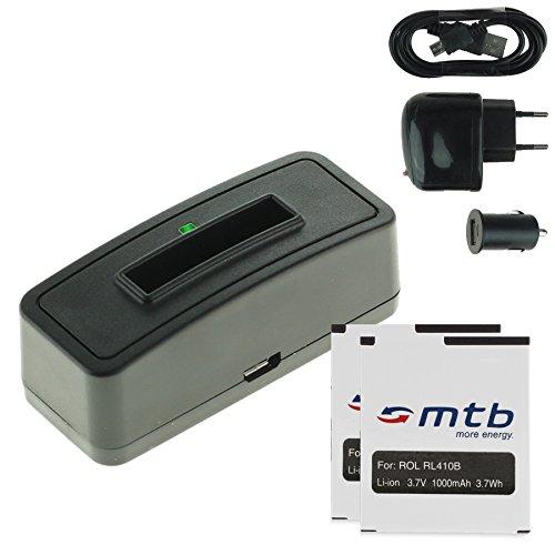 2x Akku + Single-Ladegerät (Netz+Kfz+USB) für Rollei RL410B / Rollei Action Cam 230, 240, 400, 410 / Maginon AC-800W