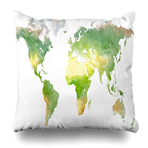 Klotr Kissenbezug Nature Abstract Green World Map Watercolor in Africa America Asia Atlas Australia Design Pillowcase Square Size 18 X 18 Inches Zippered Home Decor Cushion Case