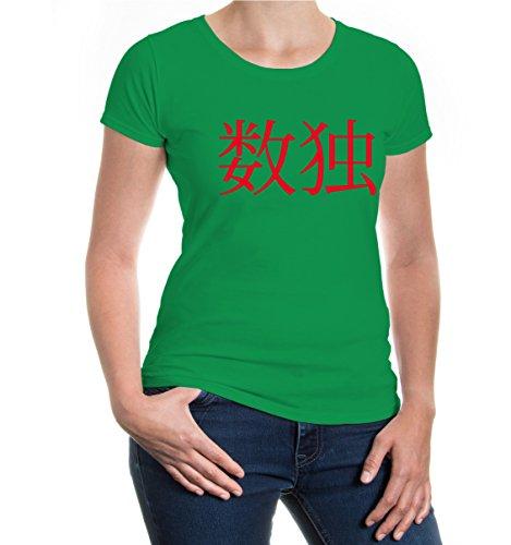 buXsbaum® Girlie T-Shirt Sudoku-Schriftzeichen Kellygreen-Red