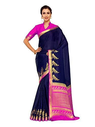 Mimosa Art Crape silk saree Kanjivarm Pattu style With Contrast Blouse Color: Blue (4250-2256-2D-NVY-RNI)