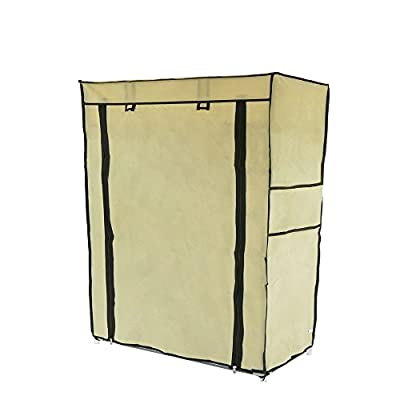 Cablematic - Fabric wardrobe for clothes and shoes storage and organiser 60 x 30 x 76 cm beige with roll-up door - cheap UK light shop.
