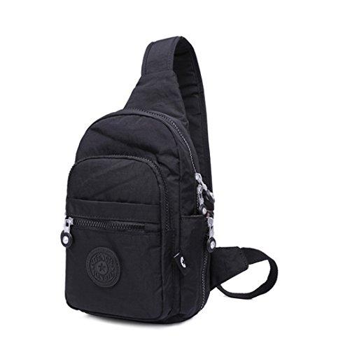 jothin Los Hombres al aire libre di nylon borsa di spalla di sport all' aria aperta dei escursione borsa del seno del Borsa Messenger del Los Hombres De 17x 35x 8.5cm (L * H * W)., Verde, 17x35x8.5 nero