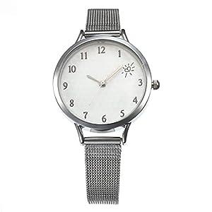 DIKHBJWQ Mode Smartwatch Damen Einfache Maschengürtel Quarz Uhr Fitness Uhren Intelligente Armbanduhr Analog-Digital Fitness Weibliche Herz-Herz-Skala Quarz Leder Armband für Mädchen Männer