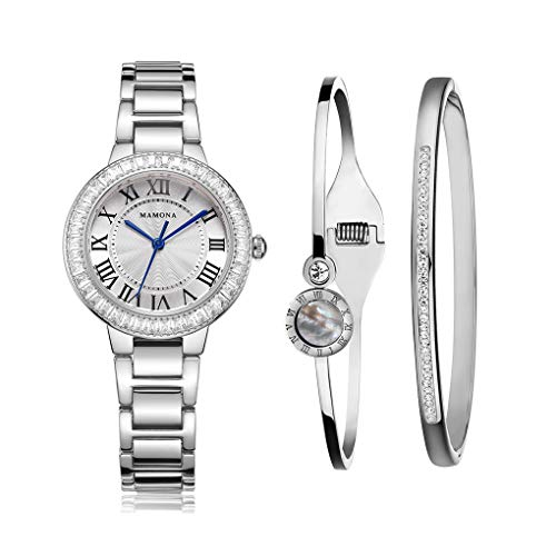 MAMONA Damen Uhr analog Japanisches Quarzwerk mit Edelstahl Armband Set Rose Gold L68008SRGTS