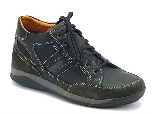 Scarponcini per uomo Zen Air in pelle nera e tessuto grigio con lacci (Taglia (Whisper Air)
