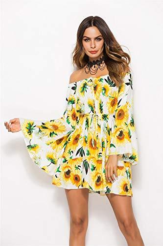 ERSANWU Frühlings- und Sommerkleid mit Print elastischer Taille binden Kleid trägerlos Kragenrock, 11, XXL - Print Taille Binden