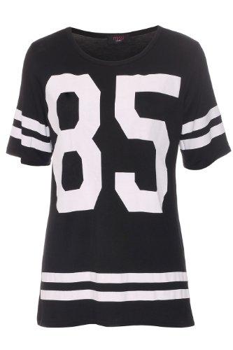 Cap Sleeve T-shirt Jersey (Fashion 4 Less neuen Frauen mit Flügelärmeln Oversized Versity Nummer 85 Druck-T-Shirt Damen-Weste-Spitze (SM-EU(36-38), Black))