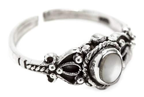 WINDALF Zehenring PERLA h: 0.8 cm Weißer Stein Midi Ring 925 Sterlingsilber