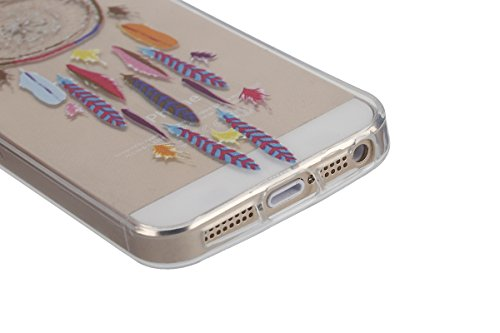 iphone 5s Transparent Housse,Silicone TPU Gel Etui pour iphone SE,Ekakashop Jolie Design Ultra Mince Soft Souple Arrière Cristal Clair Gel TPU Bumper Case Coque de Protection Couverture Swag pour ipho Campanula Des Plumes