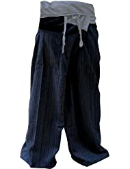 2 TONE Thai Fisherman Pants Yoga Trousers FREE SIZE Plus Size Cotton Dark Blue and Drill Striped GRAY by kittiya