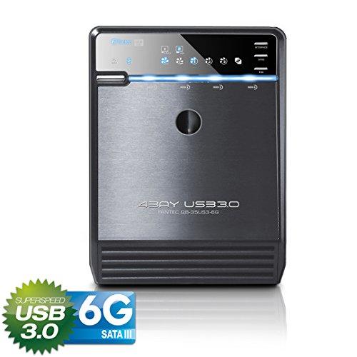 FANTEC QB-35US3-6G Externes 4-fach Festplattengehäuse (für den Einbau von 4x 8,89 cm (3,5 Zoll) SATA I/II/III Festplatten, USB 3.0 SUPERSPEED und eSATA Anschluss, 6G Support, 80 mm Lüfter temperaturgeregelt) schwarz