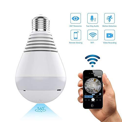 TechCode Drahtlose Heimkamera, HD 1080P IP-Kamera WiFi-Kamera 360-Grad-Panorama 1.3MP Überwachungskamera Baby View Nachtsicht-Bewegungsmelder für Heim/Büro/Haustier Tilt 2-Wege Audio, TF & Cloud Tilt Smartphone