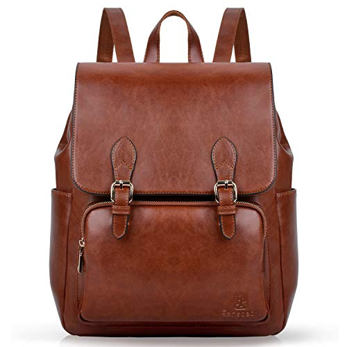 Rucksack Damen, Fanspack Lederrucksack Damen Elegant Rucksack Braun für Frauen Schulrucksäcke Tasche (Elegant Brown)