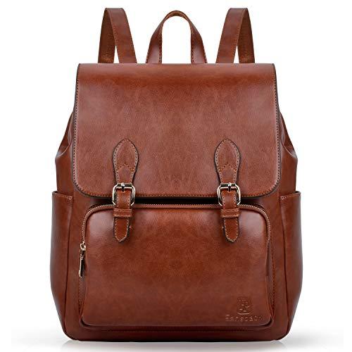 Faux Leder Magazin (Rucksack Damen, Fanspack Lederrucksack Damen Elegant Rucksack Braun für Frauen Schulrucksäcke Tasche)