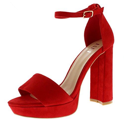 Damen Block Ferse Mode Offener Zeh Kaum Da Fesselriemen Hoher Absatz - Rot - UK5/EU38 - KL0121 (Rote Ferse Sandalen)