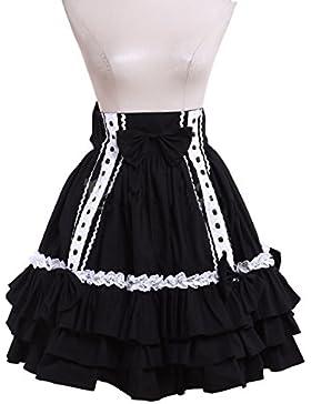 antaina Negra Encaje Volantes Retro Gotica Princesa Kawaii Punk Lolita Longitud de la Rodilla Midi Plisada Falda