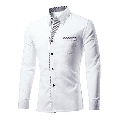 Rmine Herren Langarm Hemd Bügelleicht für Freizeit Business M-4XL (Weiß, XXXL)