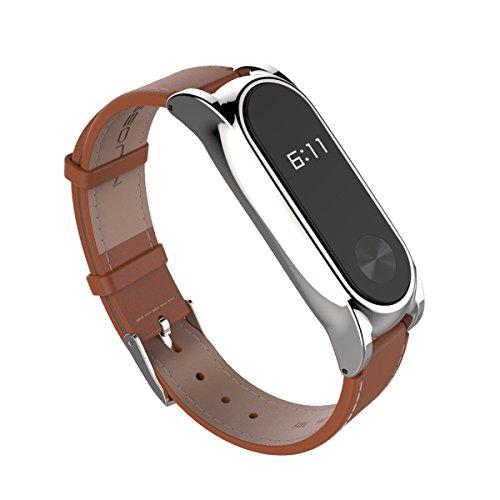 Estuyoya Recambio de Pulsera de Actividad Xiaomi Mi Band 2 Piel Sintética Encaje magnético reemplazo para Mi Band 2 - Marron