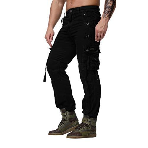 ZYUEER Herren Hosen Freizeithose Joggerhose Fashion Herrenhosen Cargohosen Freizeithosen Arbeitshosen Multi Pocket Overalls Wind Straight Nine Pants (Multi-stripe-strumpfhose)