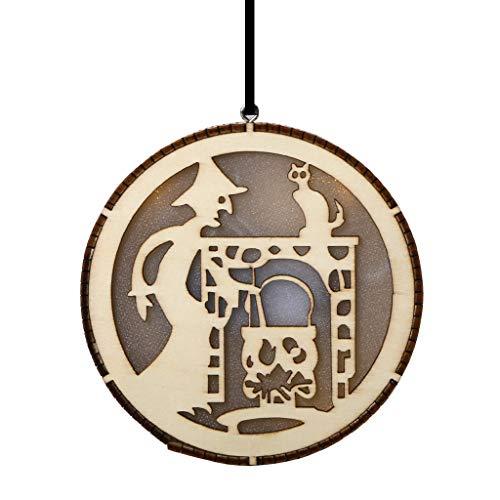 Heetey Halloween Dekoration Licht Fee Anhänger Hexe Halloween Ornamente Hohl Holz LED Black Cat Party LED Nachtlicht Halloween Wohnkultur und Hohl dekorative Lichter Holz - Spinnennetz Fee Kostüm