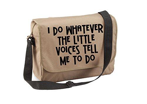Little Voices-Unisex lustige Witze Sprüche Neuheit Quadra Eco-Option Messenger Bag- Beige
