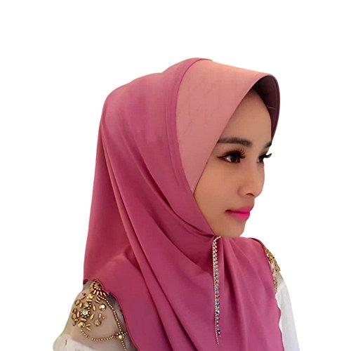Meijunter Muslim Femmes Gland Épissure Chapeau Couvercle de tête Islamic Écharpe Coton Châle Hijab pink