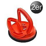 YAOBLUESEA 2 x Ventosas Para Cristal Ventosa Vacio Ventosa Max.50kg de Succión de Vacío única sifón 118 mm de Aluminio Garra única Rojo