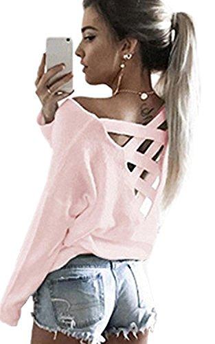 Minetom Mujeres Camiseta Con Manga Larga Escotado por Detrás Camisa Blusa T-shirt Blouses Pullover Sudadera Pink ES 42