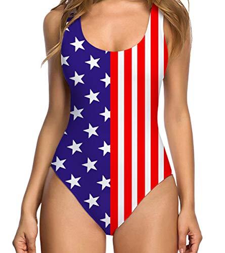 RAISEVERN Damen Sommer Badeanzug mit hoher Taille Klassischer Badeanzug mit amerikanischer Flagge XL
