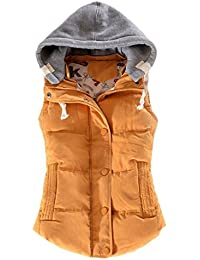 Tailloday - Chaleco de invierno para mujer, capucha desmontable