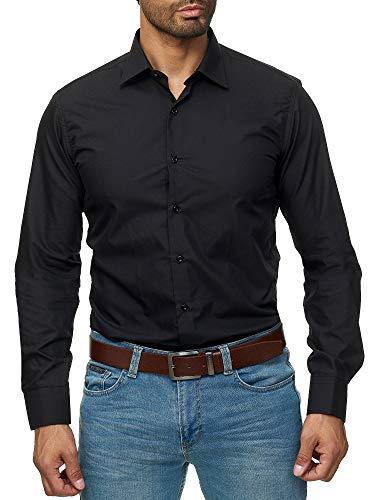 1754501020 J'S FASHION Herren-Hemd - Slim Fit - Bügelleicht - Langarm-Hemd für Business  Freizeit Hochzeit - Schwarz - XL