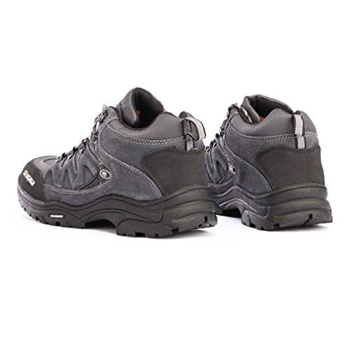 FLYGAGA Homme Suède Résistant à l'eau Respirant Outdoor Sport Chaussures de Randonnée Marche Trekking Trail Bottes Gris