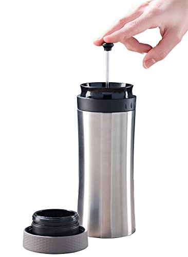Rosenstein & Söhne Kaffeebereiter: 2in1-Edelstahl-Thermobecher mit French-Press-System, 0,48 l, BPA-frei (Frenchpress)
