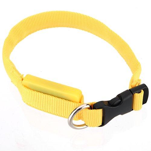 FamilyMall(TM) Hunde Katze LED Halsbänder Hundehalsband Leuchthalsband Blinklicht Leucht gelb - 2